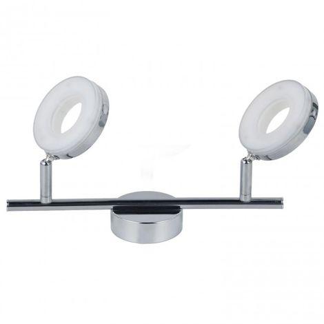 LuzConLed - Regleta 2 luces LED Circular 12W 4000K Aluminio cromo - Envío Desde España