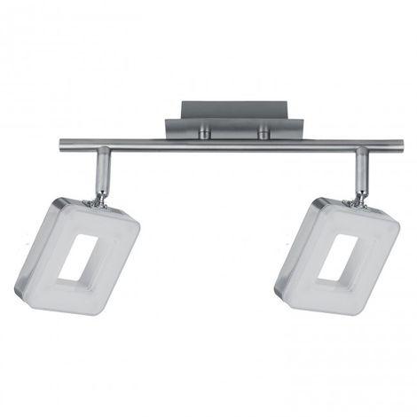 LuzConLed - Regleta 2 luces LED Cuadrado 12W 4000K Níquel - Envío Desde España