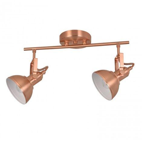 LuzConLed - Regleta 2 luces orientable E14 Retro acabado oro rosa e interior blanco - Envío Desde España