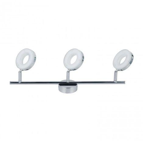 LuzConLed - Regleta 3 luces LED Circular 18W 4000K Aluminio Cromo - Envío Desde España