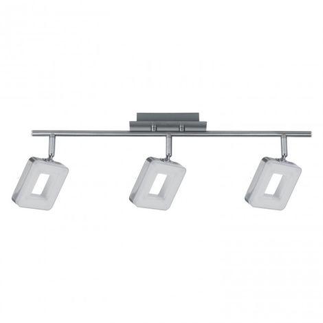 LuzConLed - Regleta 3 luces LED Cuadrado 18W 4000K Níquel - Envío Desde España