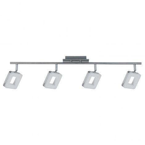 LuzConLed - Regleta 4 luces LED Cuadrado 24W 4000K Níquel - Envío Desde España