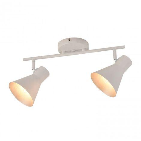 LuzConLed - Regleta de 2 luces E14 color blanco y interior del foco plata - ENVÍO DESDE ESPAÑA