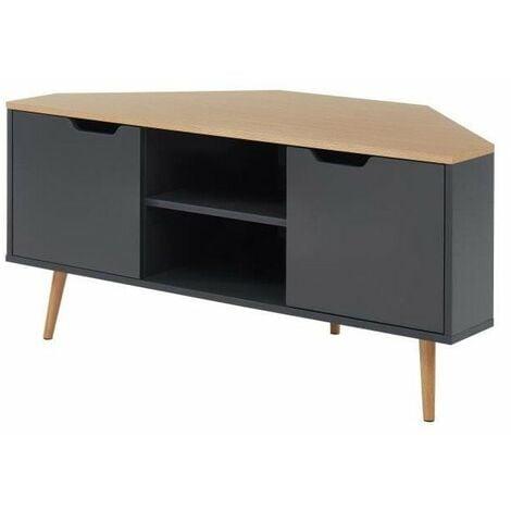 Lyna Meuble Tv D Angle Style Industriel Decor Chene Et Gris Anthracite L 115 X P 55x H 53 5cm Lynamtv