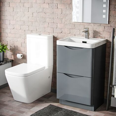 "main image of ""Lyndon 500mm Freestanding Vanity Basin Unit & Square Rimless Close Coupled Toilet Grey"""