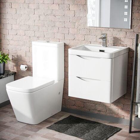 "main image of ""Lyndon 500mm Wall Hung Vanity Basin Unit & Square Rimless Close Coupled Toilet White Gloss"""