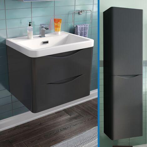 Lyndon 600 mm Grey Wall Hung Vanity Unit with Tall storage