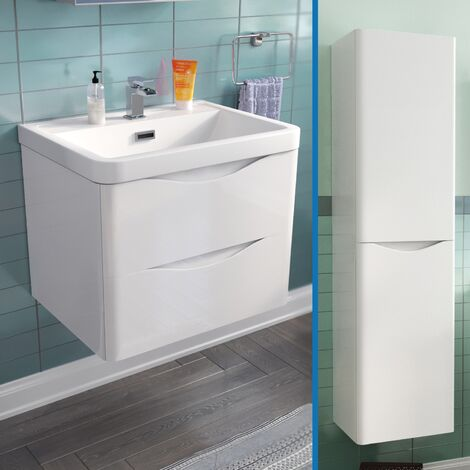 Lyndon 600 mm Wall Hung Vanity Unit and Tall Storage Cabinet