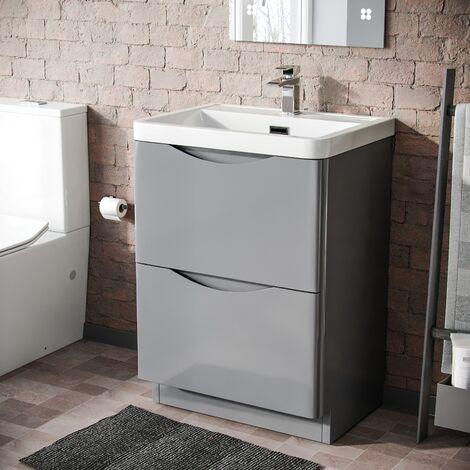 Lyndon 600mm Light Grey Bathroom Basin Freestanding Vanity Unit