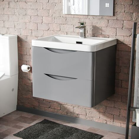Lyndon 600mm Light Grey Gloss Bathroom Wall Hung Basin Vanity Unit