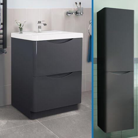 """main image of """"Lyndon 600mm Vanity Basin Unit and Tall Wall Hung Storage Cabinet Dark Grey"""""""