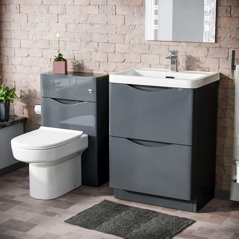 Neshome - Lyndon 600mm Vanity Basin Unit, WC Unit & Chem Back To Wall Toilet Dark Grey