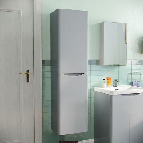 Lyndon Bathroom Wall Hung Tall Storage Cabinet Unit Light Grey