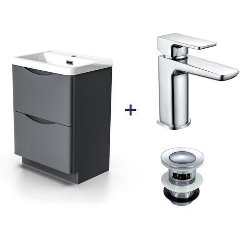 "main image of ""Lyndon Dark Grey Basin Sink Vanity Unit and Basin Tap with Waste Set"""