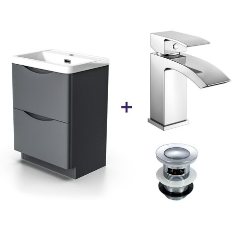 "main image of ""Lyndon Dark Grey Basin Sink Vanity Unit with a Waterfall Basin Mixer Tap and Waste Set"""