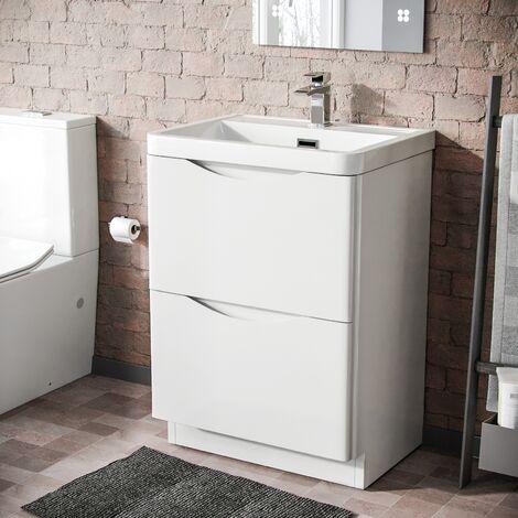 LYNDON Freestanding White Gloss Basin Vanity Unit - 600mm
