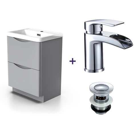 "main image of ""Lyndon Light Grey Basin Vanity Unit Tap with Waste Set"""
