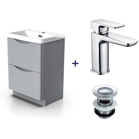 """main image of """"Lyndon Light Grey Vanity Cabinet and Basin Mixer Tap with Waste Set"""""""