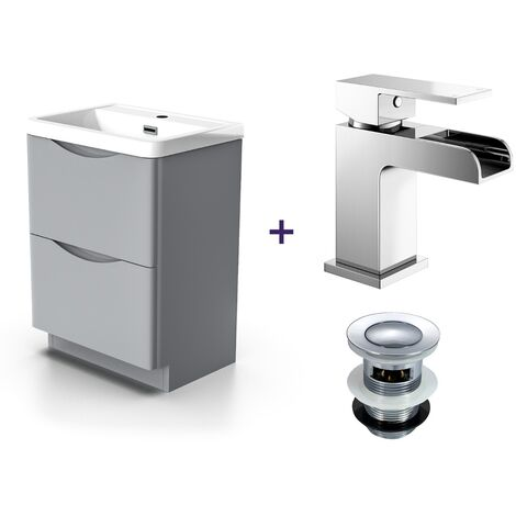 """main image of """"Lyndon Light Grey Vanity Cabinet and Basin with a Waterfall Basin Tap and Waste Set"""""""