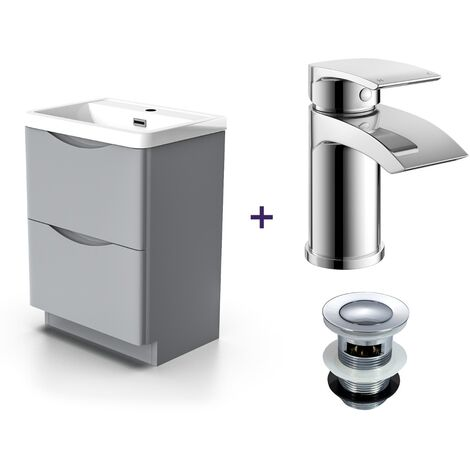 """main image of """"Lyndon Light Grey Vanity Unit with Basin and Mono Mixer Tap with Waste Set"""""""