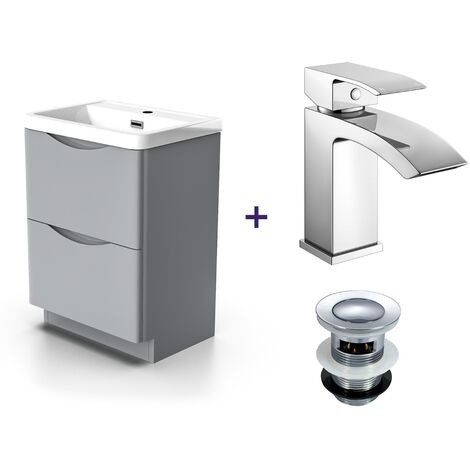 """main image of """"Lyndon Light Grey Vanity Unit with Basin and Waterfall Mono Mixer Tap and Waste Set"""""""