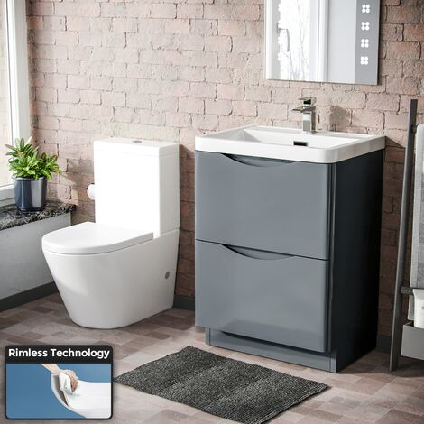Lyndon Modern 600 mm Grey Basin Sink Vanity and Rimless Close Coupled Toilet