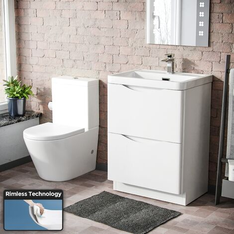 Lyndon Modern 600 mm White Basin Sink Vanity and Rimless Close Coupled Toilet