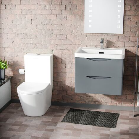 Lyndon Modern Grey Basin Vanity Wall Hung and Rimless Close Coupled Toilet
