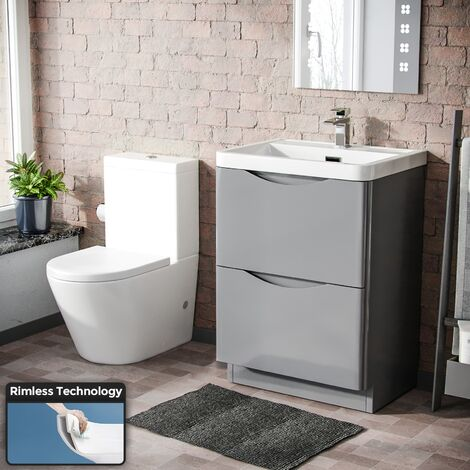 Lyndon Modern Light Grey Basin Vanity and WC Rimless Close Coupled Toilet