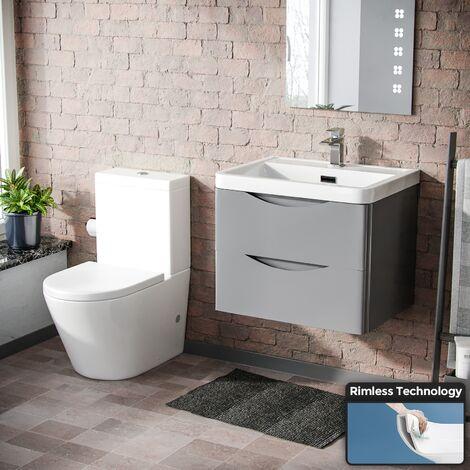 Lyndon Modern Light Grey Basin Wall Hung Vanity Cabinet and Rimless Close Coupled Toilet