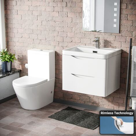 Lyndon Modern White Basin Sink Vanity Wall Hung & Rimless Close Coupled Toilet