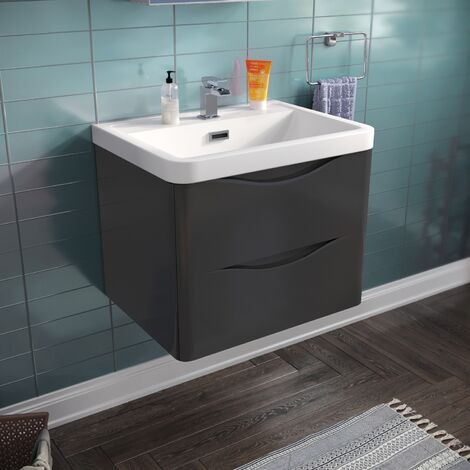 LYNDON Wall Hung Dark Grey Gloss Basin Vanity Unit - 600mm