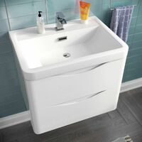 LYNDON Wall Hung White Gloss Basin Vanity Unit - 600mm