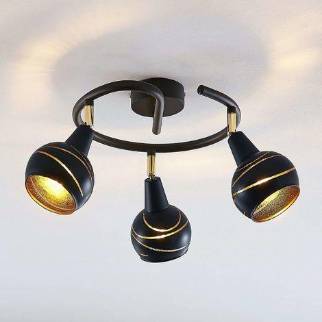 Lynette ceiling light black and gold 3-bulb spiral