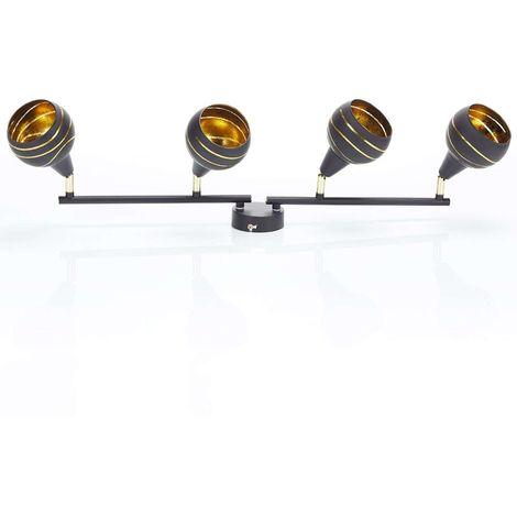 Lynette ceiling light black and gold 4-bulb long