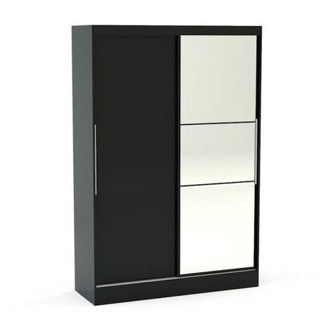 Lynx 2 Door Sliding Wardrobe With Mirror - Black