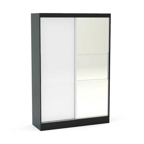 Lynx 2 Door Sliding Wardrobe With Mirror - Black & White