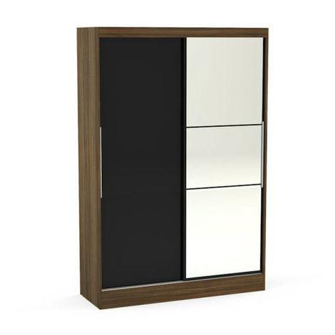 Lynx 2 Door Sliding Wardrobe With Mirror - Walnut & Black