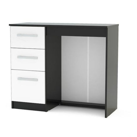 Lynx 3 Drawer Dressing Table - Black & White