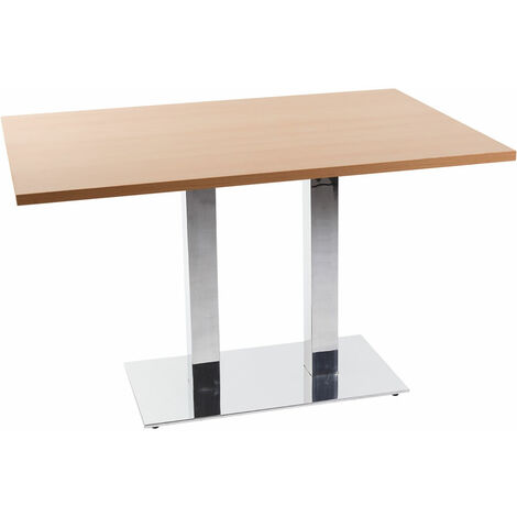Lysandra Chrome Twin Base Square Dining Table - Beech