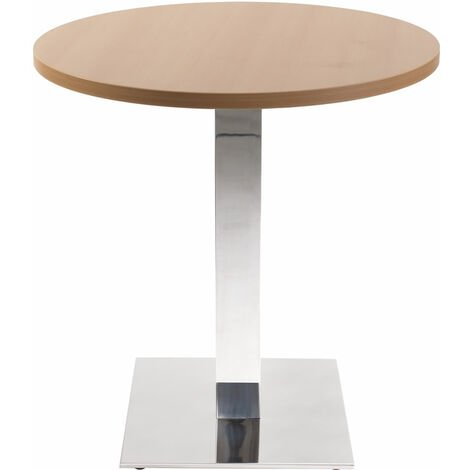 Lysandra Round Dining Table With Chrome Square Base - Beech