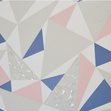Lytham Pink Navy Wallpaper Holden Marble Geometric White Silver Grey Metallic