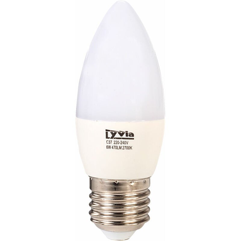 Image of LyvEco 3638 Candle LED Bulb Warm White 6W 470lm 3000K ES Edison Screw E27