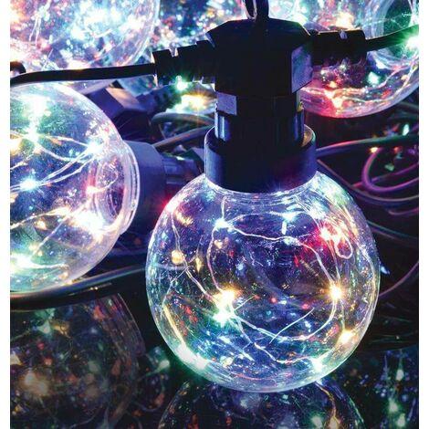 Lyyt LED 7.5 Metre Festoon Waterproof (10 Lights) Multi-Coloured String Outdoor External Patio Light