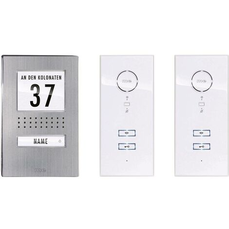 m-e modern-electronics Vistadoor 41139 Interphone filaire Set complet 1 foyer acier inoxydable, blanc
