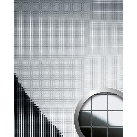 M-Style Revêtement mural Panneau mural autoadhésif WallFace 14239 Mosaique spéculaire argenté 2,60 m2