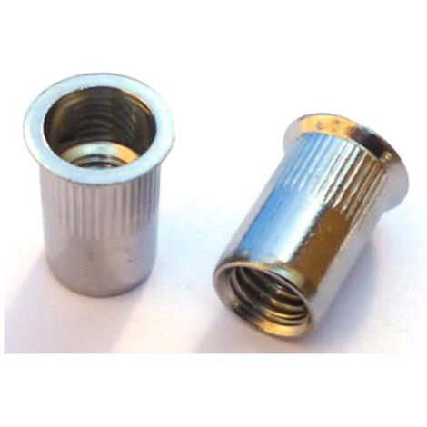 "main image of ""M10 Knurled body countersunk head blind rivet nut - Zinc Plated Mild Steel"""