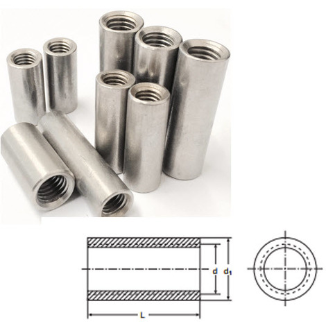 M10 x 30 mm Tiebar Connector - A2 (T304) Stainless Steel - Coupling Nut - Round
