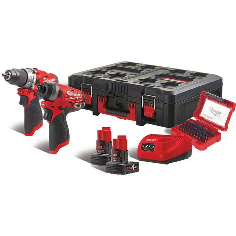 M12 FPP2A-402P - KIT TRAPANO AVVITATORE + AVVITATORE AD IMPULSI M12 FUEL + PACKOUT CON KIT INSERTI - 2 Batterie da 4,0Ah