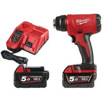 M18 Milwaukee 18V heat gun 2 batteries 5.0Ah - 1 charger 80 min BHG-502C 4933459772